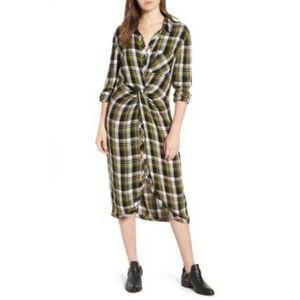 Caslon Twist Front Plaid Shirt dress XS